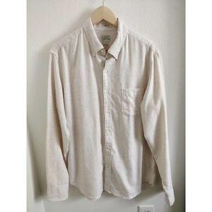 J. Crew Cream Ivory Flecked Button Down Shirt L